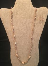 Peach leather and crystal bead necklace with earrrings 202//274